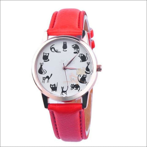 Image of Cute Cat Watches for women - Ladies Watch Red by Blissfactory Pet Supplies