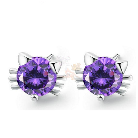Cute Cat Diamond Earrings | Stud Earrings Purple By Blissfactory Pet Supplies