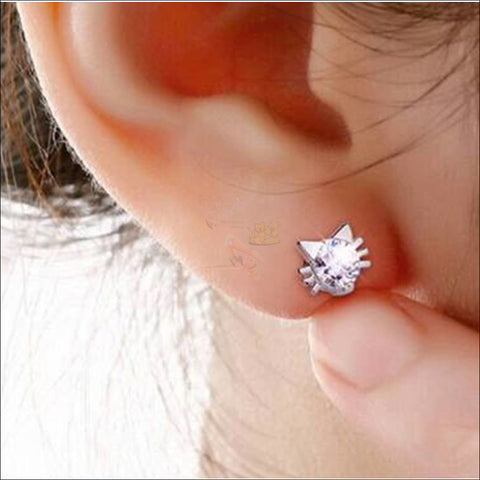 Cute Cat Diamond Earrings | Stud Earrings White By Blissfactory Pet Supplies