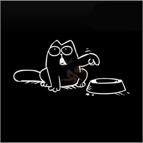 Promo: Simon's Cat Vinyl Sticker - Feed Me! (Free Shipping) Left White