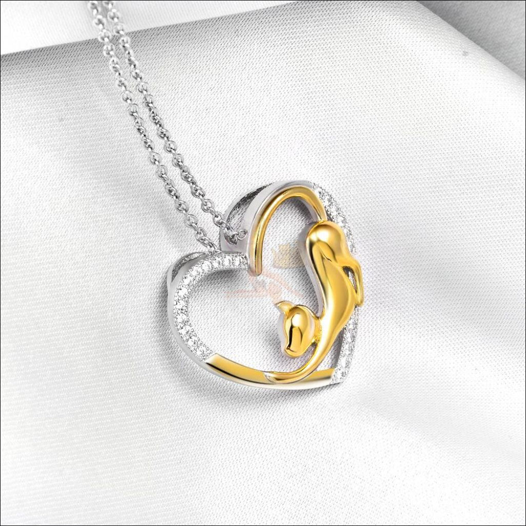 Real 925 Sterling Silver Cat Heart Necklace - I Love You!