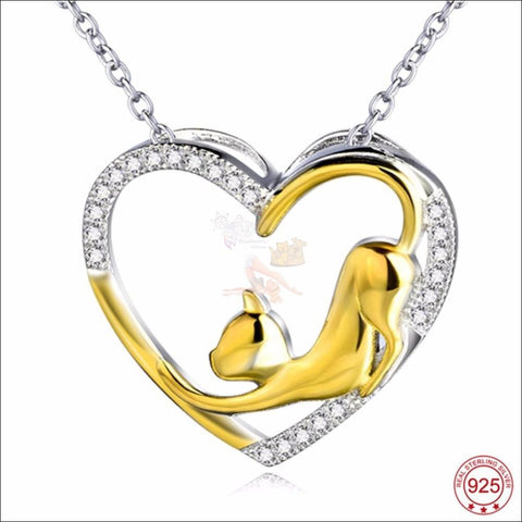 Cute Cat Silver  Heart Necklace - Pendant Necklace Design by Blissfactory Pet Supplies