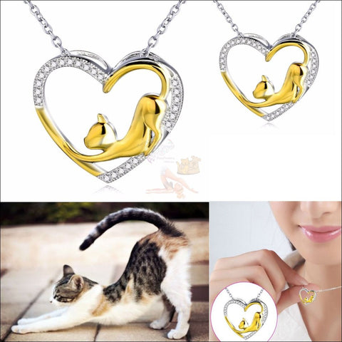 Cute Cat Silver  Heart Necklace - Pendant Necklace by Blissfactory Pet Supplies