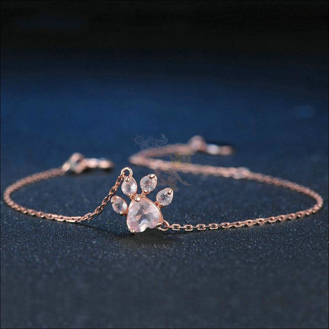 925 Silver Cat Paw Rose Gold Bracelet with Real Rose Quartz Design by Blissfactory Pet Supplies