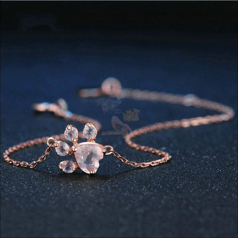 Real 925 Sterling Silver Cat Rose Gold Paw Bracelet