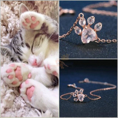 925 Silver Cat Paw Rose Gold Bracelet with Real Rose Quartz by Blissfactory Pet Supplies