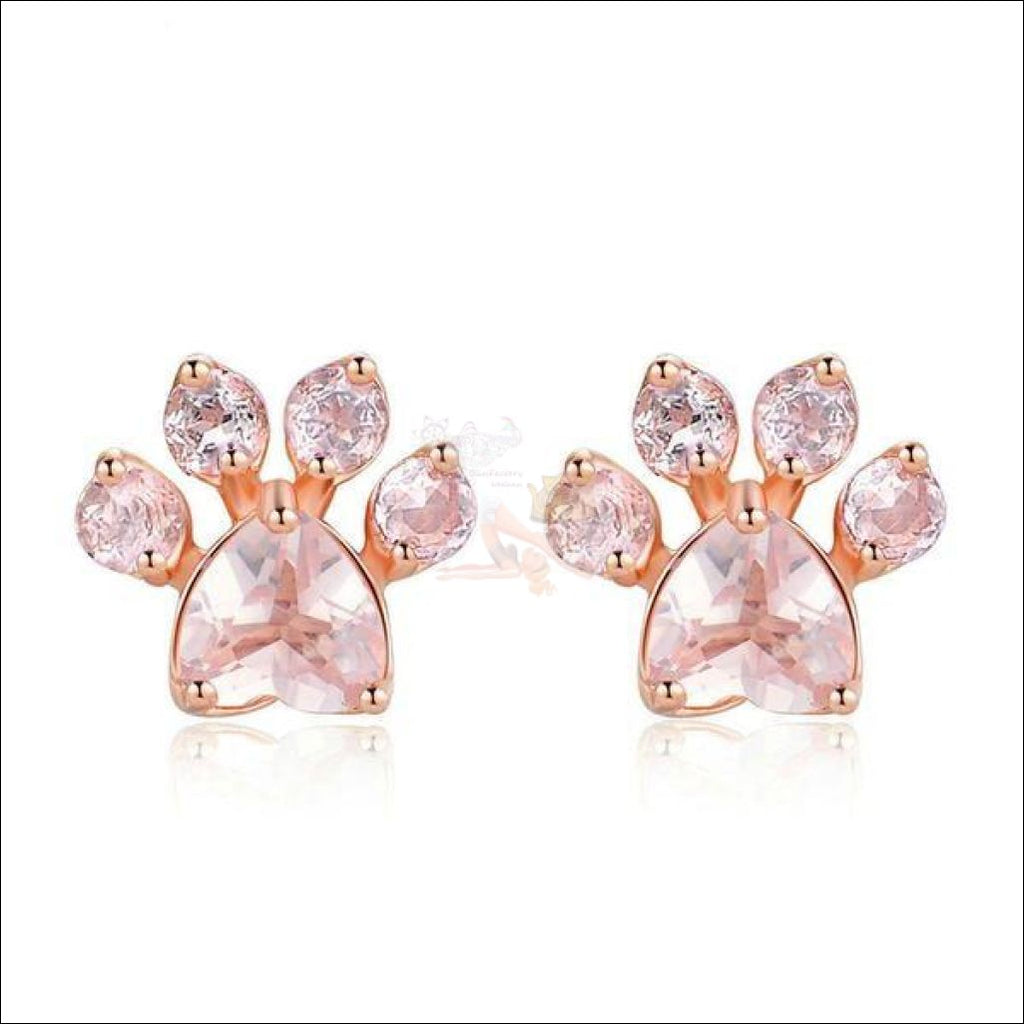 Real 925 Sterling Silver Cat Rose Gold Paw Earrings