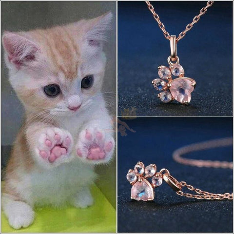 Cute 925 Silver Cat Paw Rose Gold Necklace with Real Rose Quartz by Blissfactory Pet Supplies