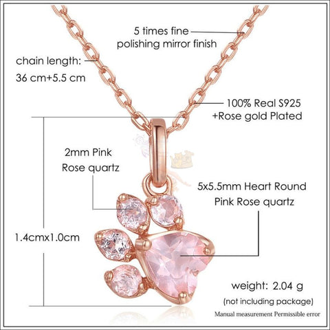 Cute 925 Silver Cat Paw Rose Gold Necklace with Real Rose Quartz Detail by Blissfactory Pet Supplies