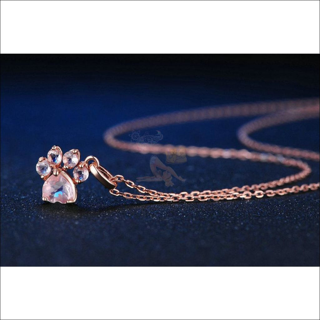 Real 925 Sterling Silver Cat Rose Gold Paw Necklace