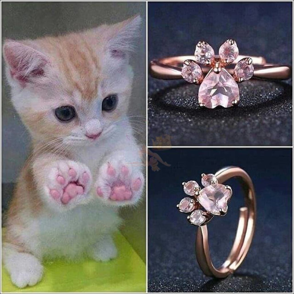 Cute Cat Rose Gold Ring | Promise Rings Pink Blissfactory Pet Supplies