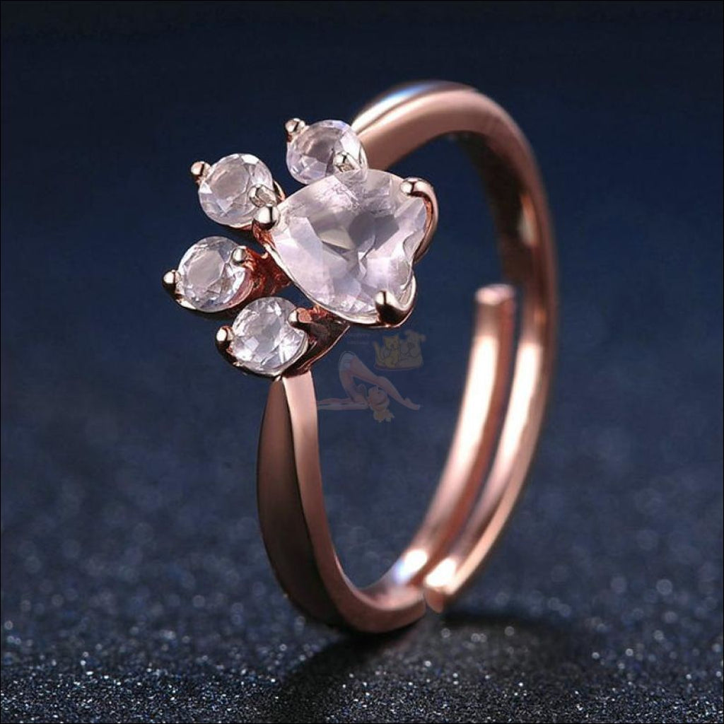 Real 925 Sterling Silver Cat Rose Gold Paw Resizable Ring
