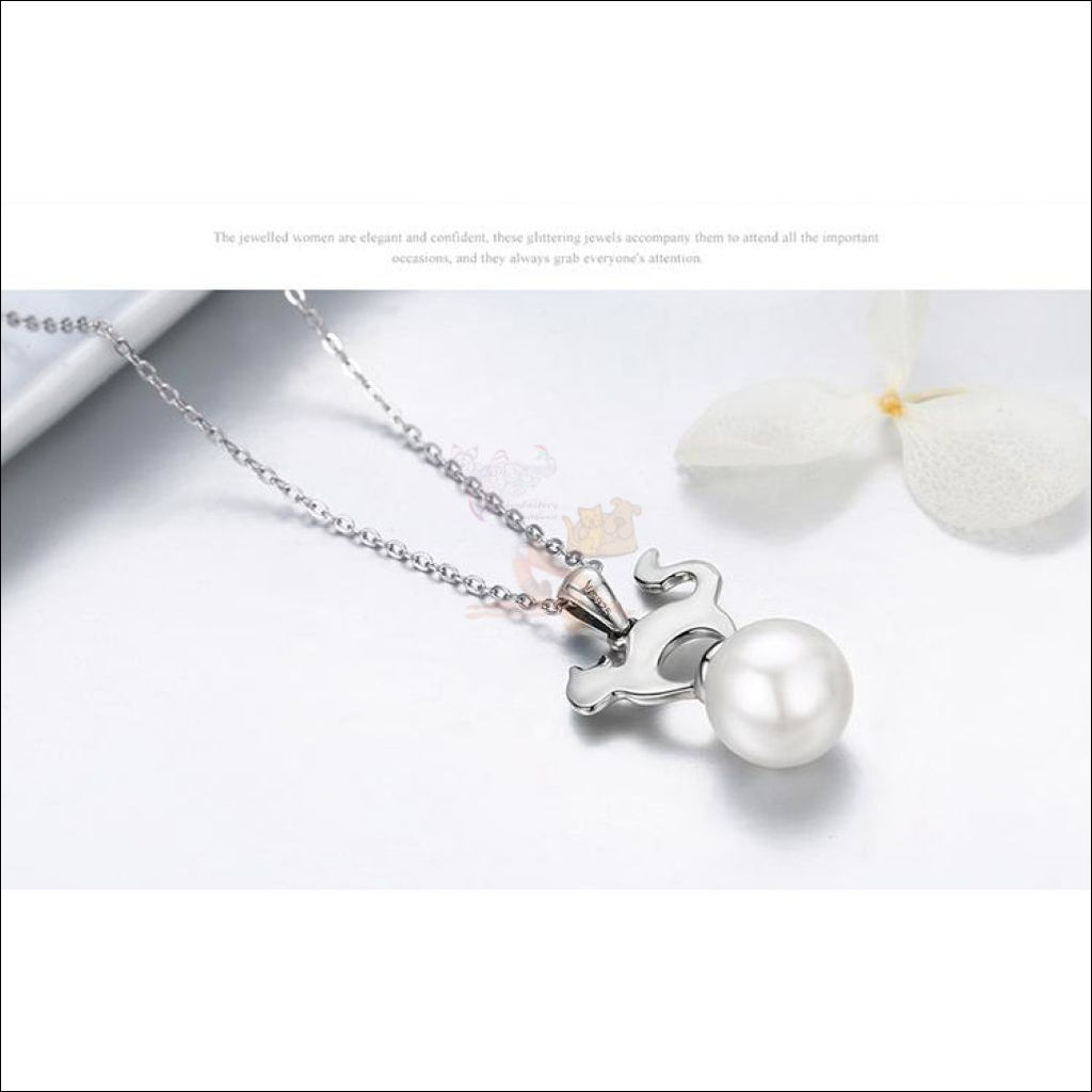 Cute Cat Silver Pearl Necklace - Best Pendant Necklace Design by Blissfactory Pet Supplies