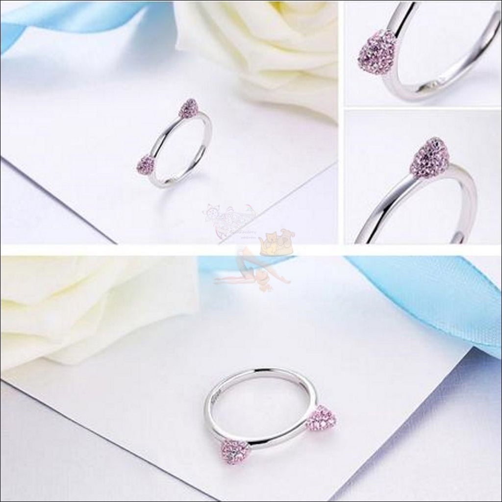 Cute Cat Ears Promise Rings- Best sterling silver rings Design by Blissfactory Pet Supplies