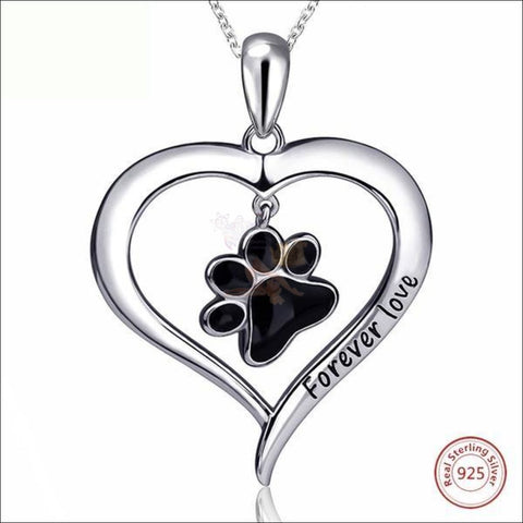 Real 925 Sterling Silver Heart & Paw  Necklace - Best Pendant Necklace Black paw by Blissfactory Pet Supplies