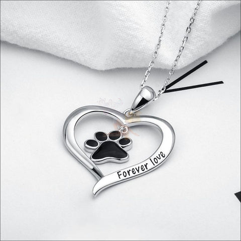 Real 925 Sterling Silver Heart & Paw Necklace - Best Pendant Necklace  by Blissfactory Pet Supplies
