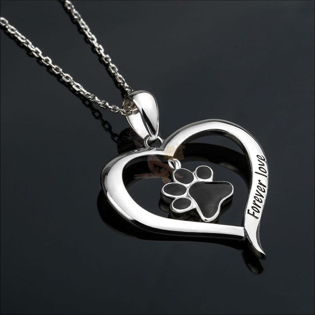 Real 925 Sterling Silver Heart & Paw Necklace - Best Pendant Necklace Black  by Blissfactory Pet Supplies