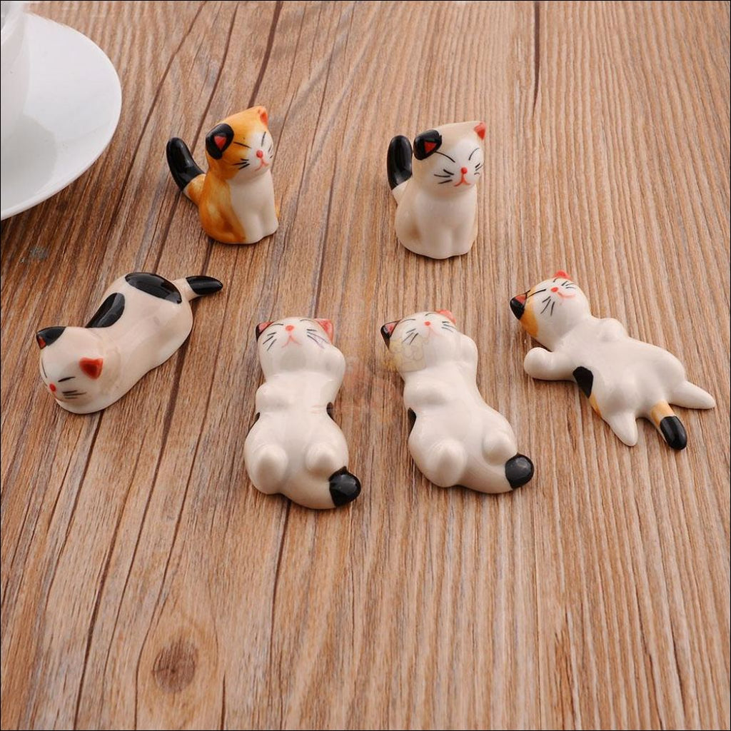 Set Of 6 Japanese Hand-Painted Ceramic Kitty Cutlery/chopstick Holders 1+ Aliexpress