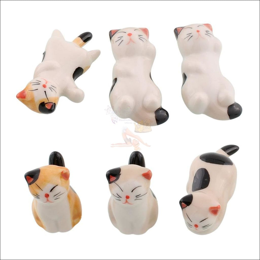 Set Of 6 Japanese Hand-Painted Ceramic Kitty Cutlery/chopstick Holders Aliexpress