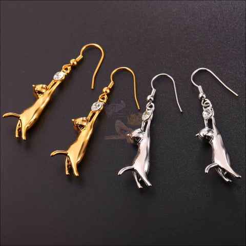 Cute Cat Earrings and Pendant Necklace-  Best jewelry online Gold and silver by Blissfactory Pet Supplies