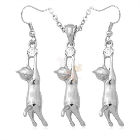 Cute Cat Earrings and Pendant Necklace-  Best jewelry online Platinum plated  by Blissfactory Pet Supplies
