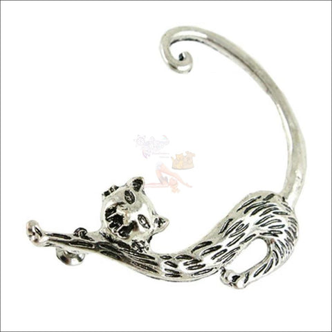 Image of Slinky Cat Ear Cuff -  Best Earrings for women Silver Plated by Blissfactory Pet Supplies