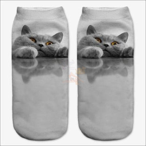 Image of  Cute 3d Design Cat Socks | Crazy socks | Funny socks Gold Eyes By Blissfactory Pet Supplies