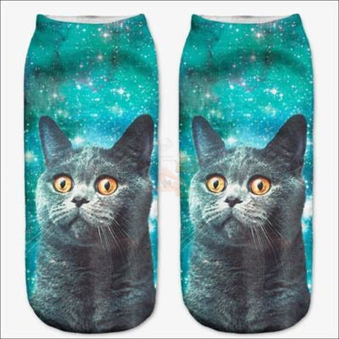 Cute 3d Design Cat Socks | Crazy socks | Funny socks Blue By Blissfactory Pet Supplies