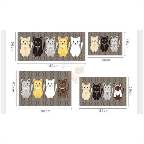 Cute Cat Anti-Slip Rugs | kitchen rugs | modern rugs Size By Blissfactory Pet Supplies