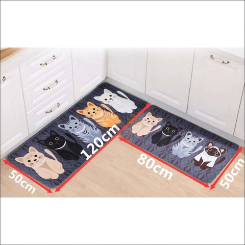 Cute Cat Anti-Slip Rugs | kitchen rugs | modern rugs  By Blissfactory Pet Supplies