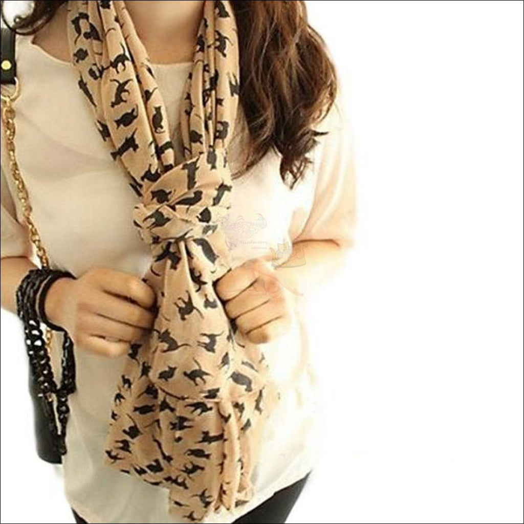 Sweet Chiffon Cartoon Cat Scarf (Free Shipping) Classic Beige