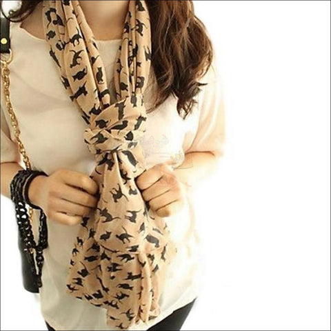 Image of Sweet Cat Neck Scarf- Best Chiffon Scarf Classic Beig By Blissfactory Pet Supplies