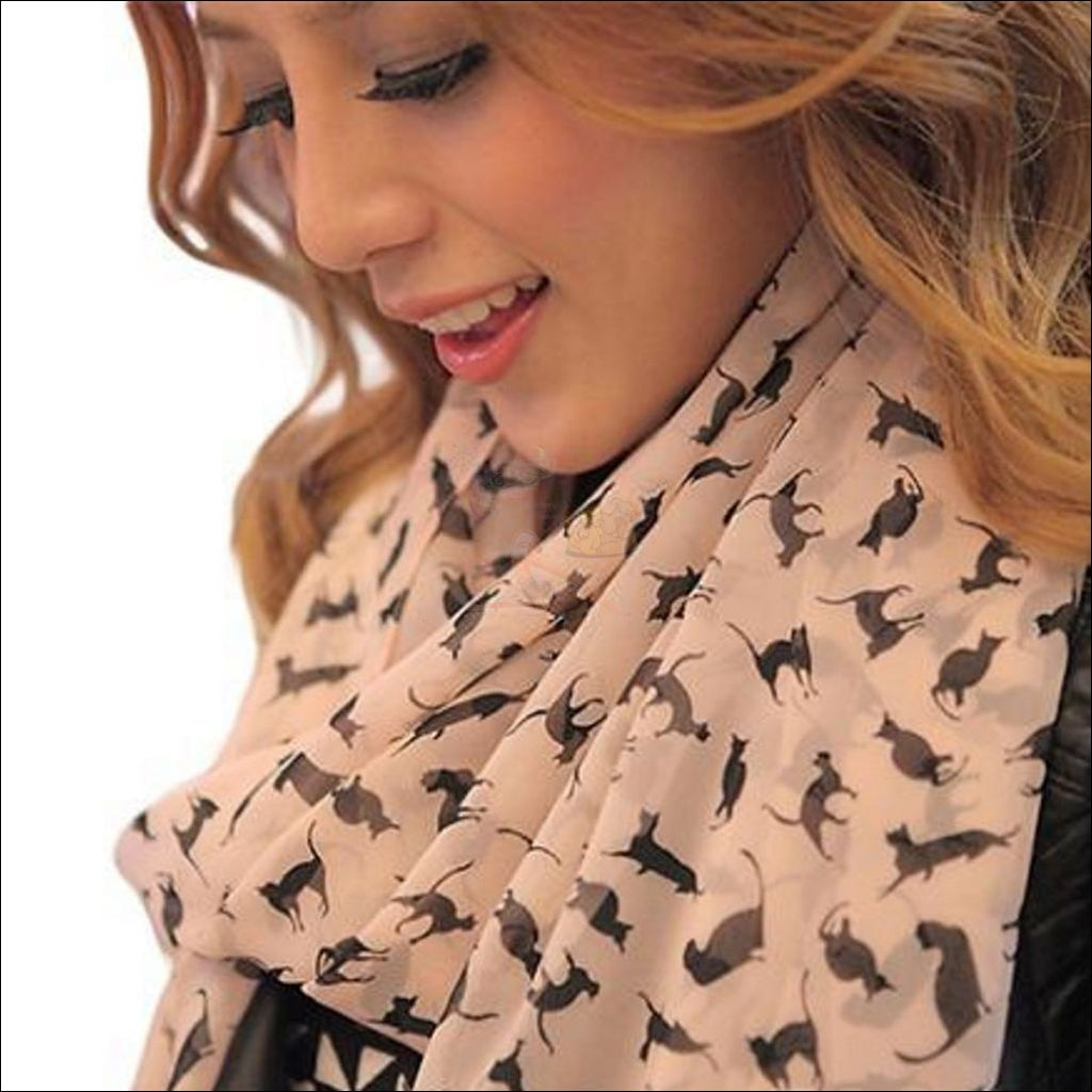 Sweet Chiffon Cartoon Cat Scarf (Free Shipping) Pink