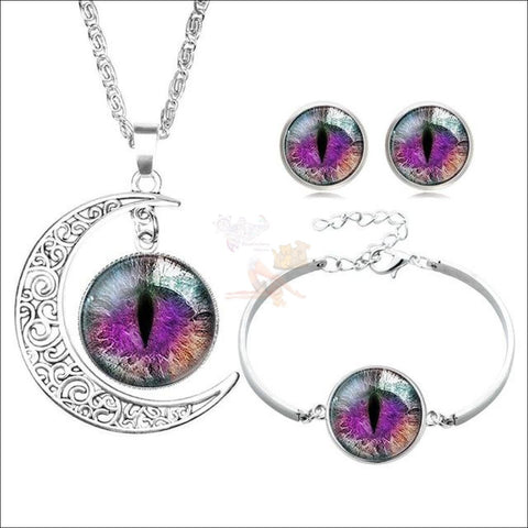 The Crescent Cat Eye unique jewelry Set- Best  jewelry online Green Purple By Blissfactory Pet Supplies