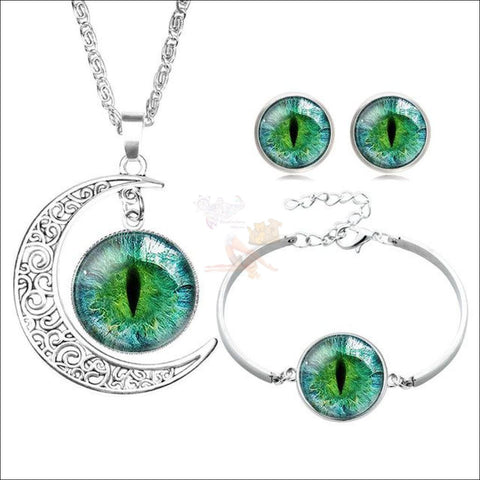 The Crescent Cat Eye unique jewelry Set- Best  jewelry online Green By Blissfactory Pet Supplies