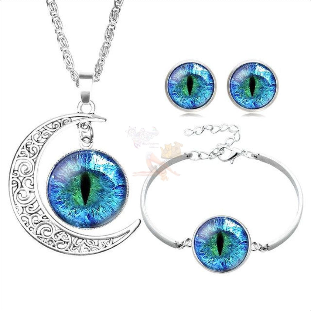 The Crescent Cat Eye unique jewelry Set- Best  jewelry online Blue By Blissfactory Pet Supplies