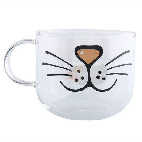 Funny Cat Snout Glass Coffee Mugs | Teacup By Blissfactory Pet Supplies