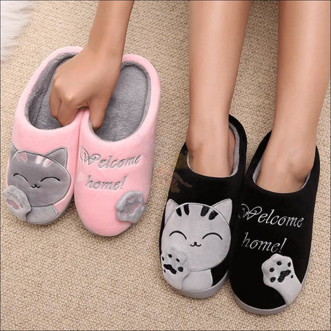 Cute Cat House Slippers | Fur Slippers for Men And Women different colour By Blissfactory Pet Supplies