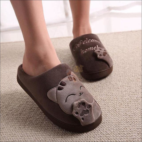 Image of Cute Cat House Slippers | Fur Slippers for Men And Women Brown By Blissfactory Pet Supplies