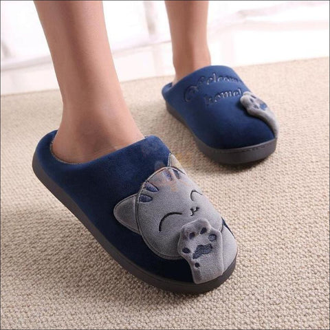 Image of Cute Cat House Slippers | Fur Slippers for Men And Women Blue By Blissfactory Pet Supplies