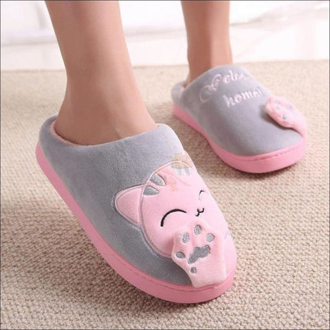Image of Cute Cat House Slippers | Fur Slippers for Men And Women Gray By Blissfactory Pet Supplies