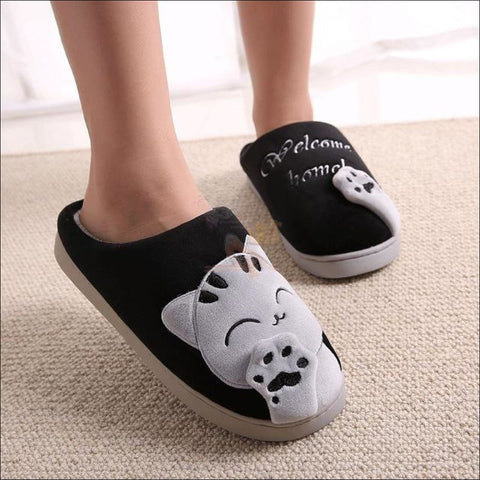 Image of Warm Winter Cat Paw Slippers For Men And Women (Couple Promotion!) Black / 11