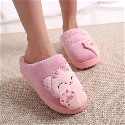 Image of Cute Cat House Slippers | Fur Slippers for Men And Women All Pink By Blissfactory Pet Supplies