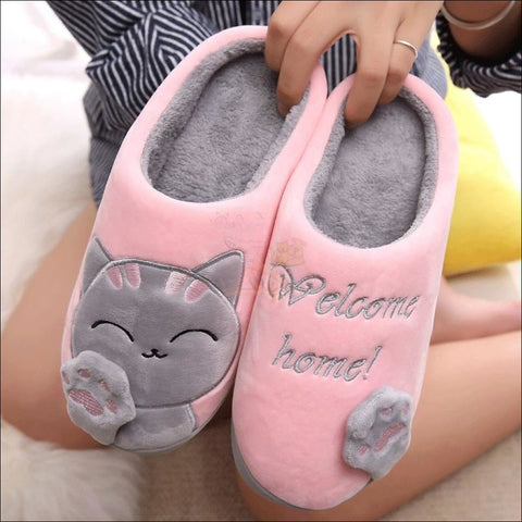 Image of Cute Cat House Slippers | Fur Slippers for Men And Women By Blissfactory Pet Supplies