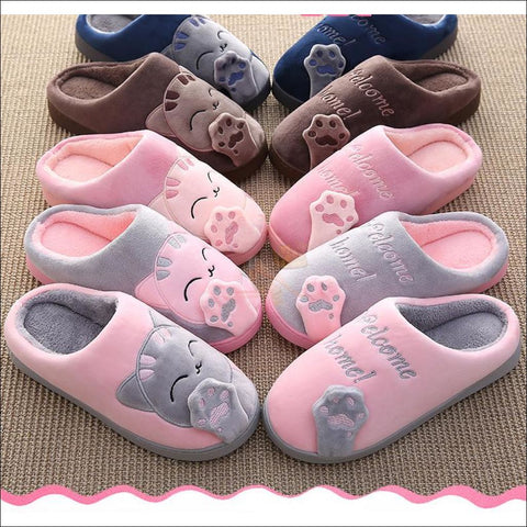 Image of Cute Cat House Slippers | Fur Slippers for Men And Women 4 colors By Blissfactory Pet Supplies