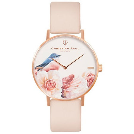 Montre Christian Paul - Oiseau Blanc Cuir Rose