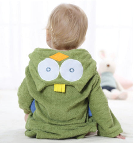 Green Owl Hooded towel