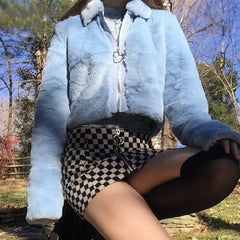 Blue Heart Faux Fur Jacket