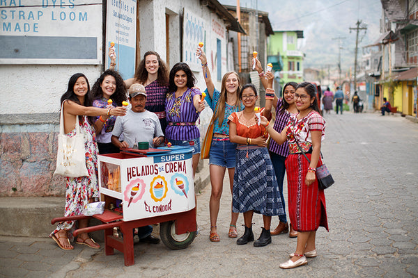 Women with their love bracelets in Guatemala enjoying ice cream on the streets