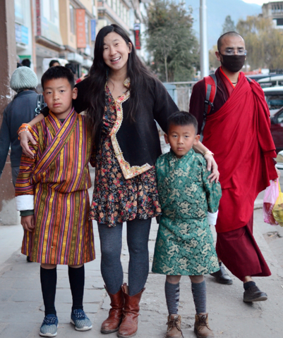 founder love is project Chrissie Lam with children in Bhutan